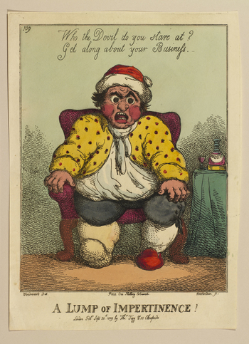 A hand-coloured print of a large man seated and scowling at the viewer. His right foot is bound for gout and he wears a nightcap and a yellow spotted coat. On his left is a table with a bottle of Madeira wine on it together with a glass. Companion print t
