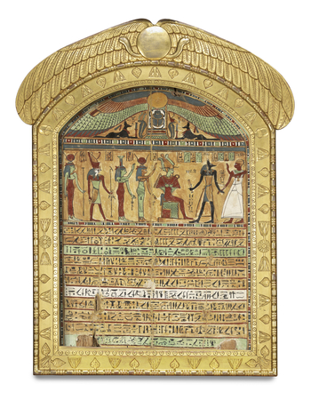 Nakhtmontu, son of Nespautitawy, High Priest of Amun, and of Nestefnut, Sistrum-player of Amun-Re, is depicted on the right-hand side of the main scene. The deceased, also a priest, is accompanied by Anubis to the presence of Osiris, seated on a throne, b