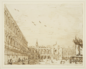 A drawing of Piazza San Marco in Venice. On the left is the Procuratie Nuove, in the centre is the later-destroyed church of San Geminiano, and beyond the campanile of the church of San Moise. In the right foreground is a temporary stage or platform. <br>
