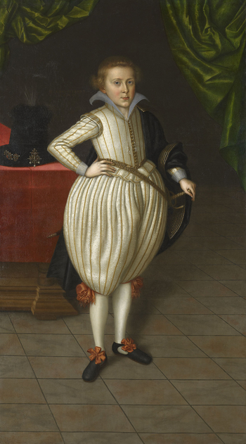 This is one of five full-length portraits of members of the Brunswick family in the Royal Collection which were first attributed to van der Doort by Oliver Millar. They are all inscribed with the date of 1609. Christian, Prince of Brunswick (1599-1626) wa