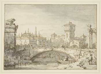 A drawing of an invented view, known as a capriccio. The drawing shows a bridge over a river, with several figures shown crossing it. Beyond the bridge are a Palladian style building and a medieval style building with a large clock tower. To the right of