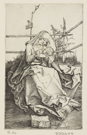 This engraving of 1503 shows the Virgin Mary, in sixteenth-century dress, sitting on a grassy bank and suckling Christ. Behind her, a bird sits on a fence and a plaque, hanging from a spindly tree, bears the date. In the foreground, Dürer's