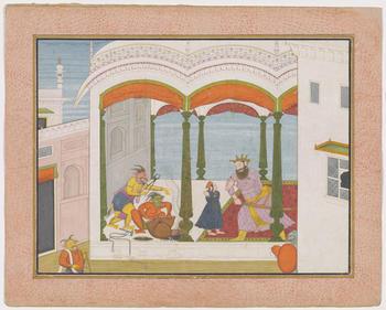 Illustration to Book 7 of the <em>Bhagavata Purana</em>, Chapter 8: after Prahlada tells him that Vishnu is the omnipresent, supreme controller of the Universe, Hiranyakashipu asks