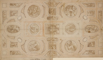 The left half of a drawn design for a ceiling (the right half is RL 6004).  Although this design for a ceiling is inscribed with Primaticcio's title of Abbot of St Martin (to which he was appointed by Francis I as a source of revenue), it does not app