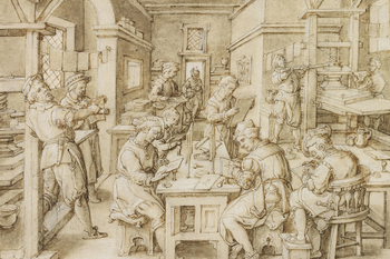 A drawing of a scene within a printing shop; on the left is a screw press being turned by one man, while another examines an impression. Damp paper hangs drying above them. In the centre, around a table, several engravers are at work on metal plates copyi