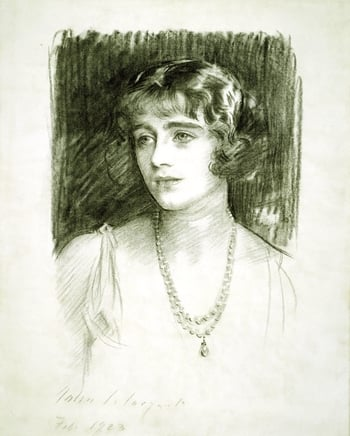 This portrait - with two others - was made shortly before the marriage of Lady Elizabeth Bowes-Lyon to the Duke of York, which took place in April 1923. The inventory of the wedding gifts presented to the couple records that John Singer Sargent's po