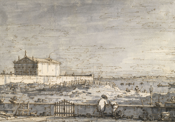 A drawing of an invented landscape, known as a capriccio, which features a pavilion in a walled garden on the left hand side. In the right foreground, two figures are shown by a low wall. The drawing is within a ruled ink border line.