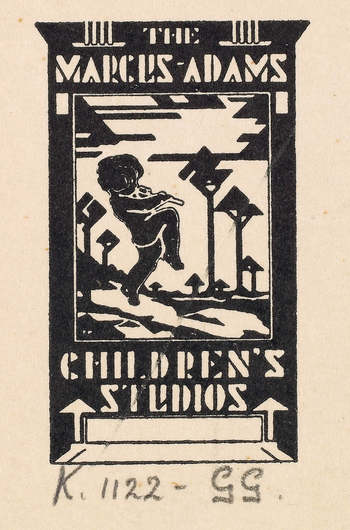 Logo featuring a dancing child playing a pipe or a whistle within a black motif landscape with geometric designs above and below the picture. Adams designed the logos for his Children's Studio himself.  They were used on his writing paper, mounts and pr