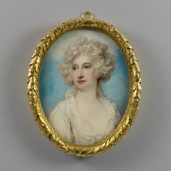 For many years, this miniature of Maria Fitzherbert, the morganatic wife of George IV, was identified in Royal Collection inventories as another of his amours, the actress Mrs Mary Robinson (known as 'Perdita') but comparison with accepted portraits of Mr