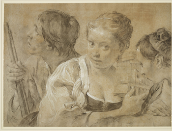 A black and white chalk drawing on blue paper faded to brown, showing three figures. In the centre is a girl holding a bird in a cage who looks out at the viewer. To her left is another female figure who looks to the male figure on the left hand side. The