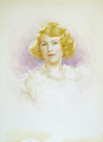 Watercolour drawing of Princess Elizabeth, head and shoulders, facing front, wearing a triple string of pearls