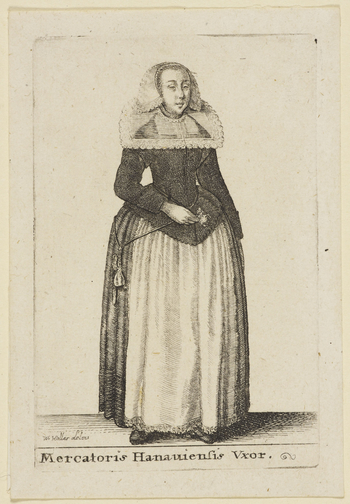 An etching of a woman in the dress of the wife of a merchant of Hanover: standing, turned slightly to right, wearing lace-edged cap, lace-edged transparent collar and holding flower in right hand. From the Aula Veneris.