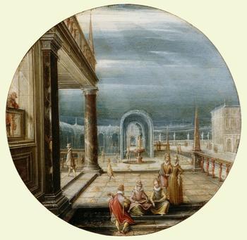 According to Karel van Mander, Hendrick van Steenwyck the Elder, c.1550-1603, was a pupil of Hans Vredeman de Vries (1527-1606). His son Hendrick the Younger was born in Antwerp in c.1580 and in 1585, after the Spanish reconquest of Antwerp, Hendrick the
