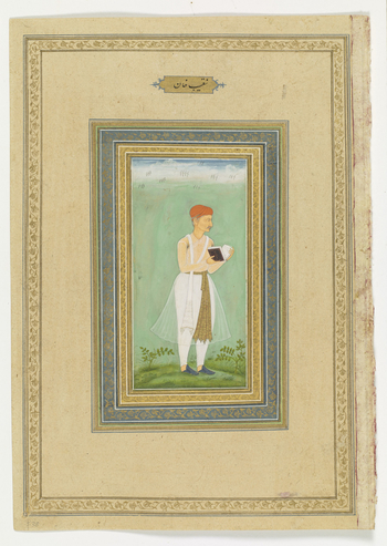 <p>folio 38</p>  <u>recto:<br> </u> <br>Portrait of Naqib Khan, <em>c</em>.1610-20.<br> <br>Naqib Khan (d.1614), a Persian originally from Qazvin, had the job of reading to the Mugha emperor and served under both Akbar and Jahangir. In his memoirs, Jahang