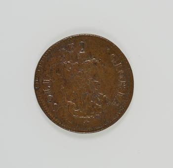1 medal : copper<br />Obverse: A three masted ship. CAR . II . D . G . M . B . FR . ET . HI . REX.<br />Reverse: St. Michael slaying the dragon. SOLI DEO GLORIA
