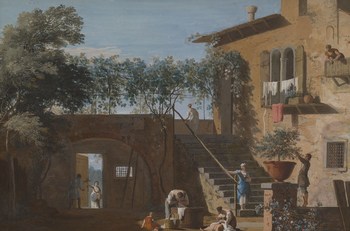 Marco Ricci produced a large number of paintings of landscape subjects executed in the unusual technique of tempera or gouache on leather, possibly kidskin (the paint was made by binding pigments with egg yolk or gum arabic respectively). Typically measur