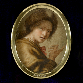 Antonio Lesma was an Italian painter from Naples, but from his self-portrait in the Uffizi gallery is his only known work.   This miniature is one of the collection of copies of 224 self-portraits by artists in the Uffizi Palace, Florence, t