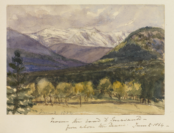 A watercolour showing a view from the road to Invercauld from above the Garbh-allt-Shiel. Snow-topped mountains are shown in the background with trees shown in the foreground. Inscribed lower left: June - 2. 1864. Inscribed below pasted in sheet: From th