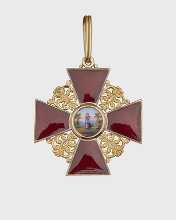 Order of St.Anne, badge of gold & red enamel w gold filigree work between arms. Obv:St.Anne in woodland. Rev:Entwined letters APJF crowned,standing for Anna,Imperatoris Petri Filia. (Anna,daughter of Emperor Peter)