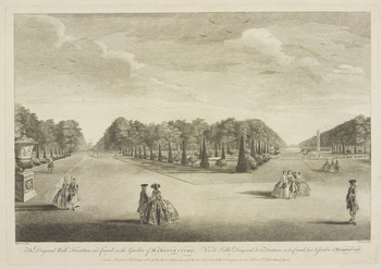An etching of the gardens at Hampton Court Palace. Lettered below in French and English: The Diagonal Walk, Fountain and Canal in the Gadren of Hampton Court and Vue de l'allée Diagonal de la Fontaine et du Canal, dans le Jardin d'Hampton