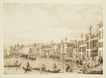 A drawing of an upper section of the Grand Canal in Venice. On the left is the façade of Santa Croce. On the far right is the house of the British Secretary-Resident in Venice, identified by the oval sign above the door.
