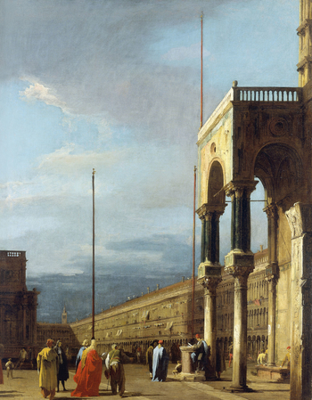 This painting forms one of a set of six views of the Piazza San Marco and the Piazzetta, at the heart of Venice. The series may have been Canaletto's earliest commission from Joseph Smith, British Consul in Venice, who sold his outstanding group of