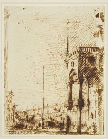 A drawing of a view in Piazza San Marco in Venice. On the right is the narthex (vestibule) of the basilica of San Marco. On the left is the edge of the Loggetta and the Campanile. In the centre is part of the Procuratie Vecchie.  Canaletto's viewpoint can