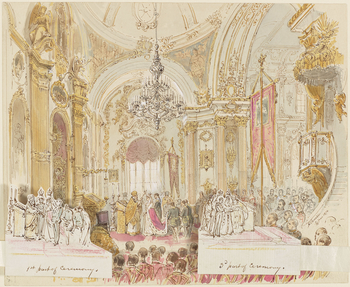 A watercolour composition study for Chevalier's large oil painting of the wedding ceremony of Alfred, Duke of Edinburgh and the Grand Duchess Marie, daughter of Tsar Alexander II of Russia (see RCIN 404476): inthree sections (main picture plus two s