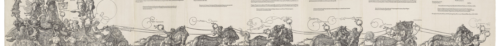 A woodcut showing the Emperor Maximilian in a triumphal chariot.This large woodcut, over 2 metres in length, was originally planned as part of a huge printed frieze. The work, undertaken by a team of designers and woodblock cutters, was to show a triumpha