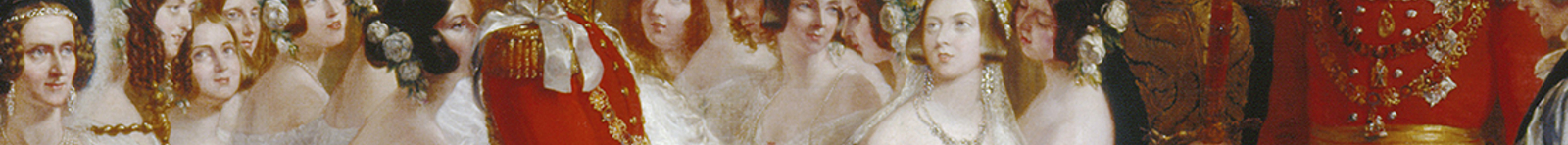 Detail from Hayter's painting of Victoria and Albert's marriage, showing the pair holding hands at the alter with onlookers in the background