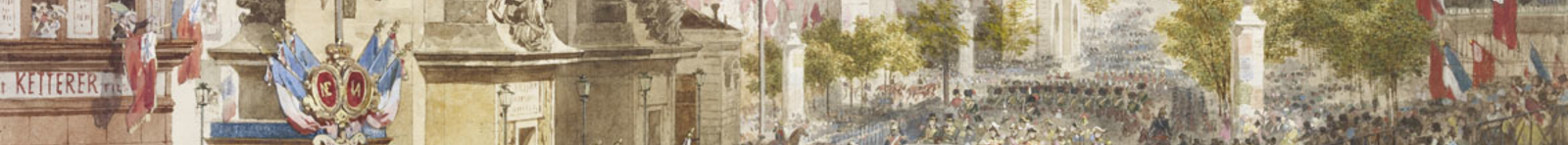 Detail showing the arrival of Queen Victoria through the crowds in Paris