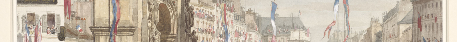 A watercolour and bodycolour drawing of Queen Victoria arriving by carriage into Paris, travelling down the Boulevard de Strasbourg, and about to turn right into the Boulevard Saint Denis. On the left is the Porte Saint-Denis, the seventeenth-century triu