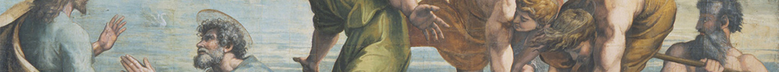 Detail from the miraculous Draft of Fishes, showing Christ and the disciples in a fishing boat