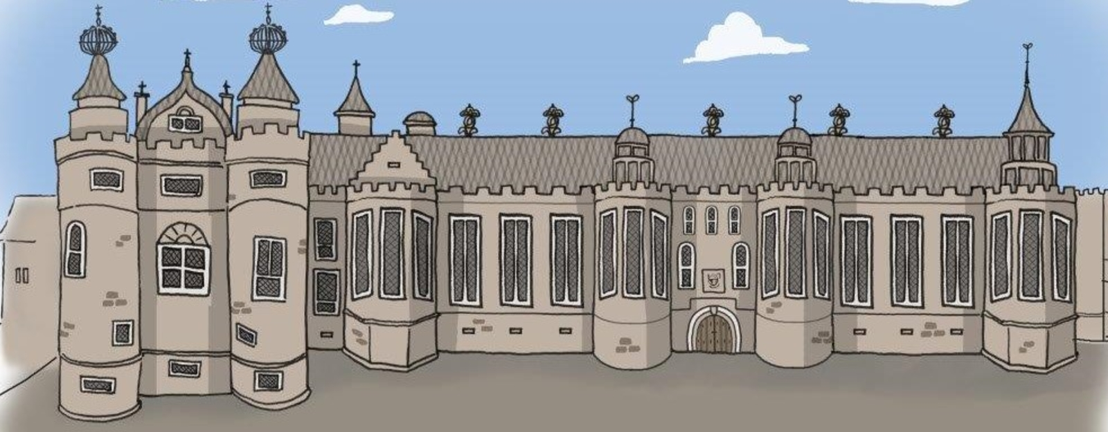 Illustration of 16th century facade of Palace of Holyroodhouse