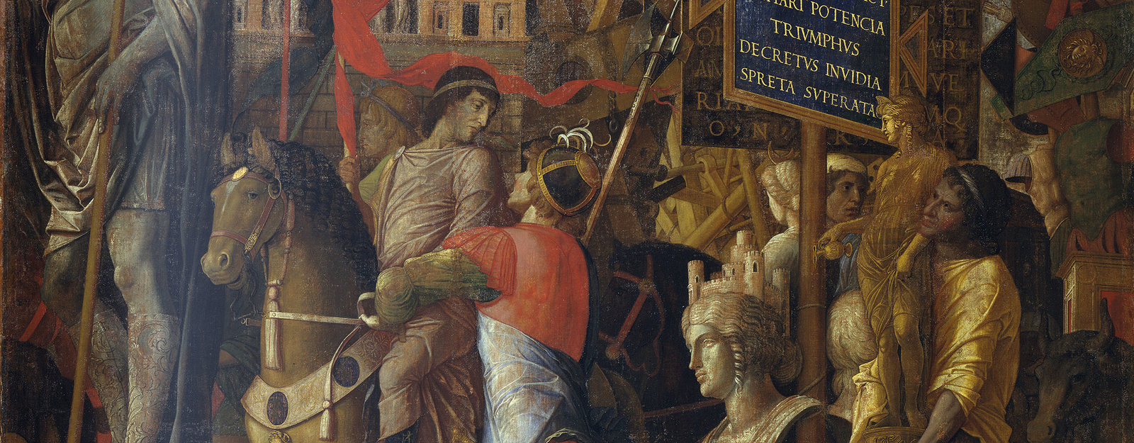 This painting is one of nine canvases known as The Triumphs of Caesar, which can be counted amongst the finest achievements in Italian Renaissance art. They were probably painted for Franceso II Gonzaga (1466-1519), who became the 4th Marquis of Mantua in