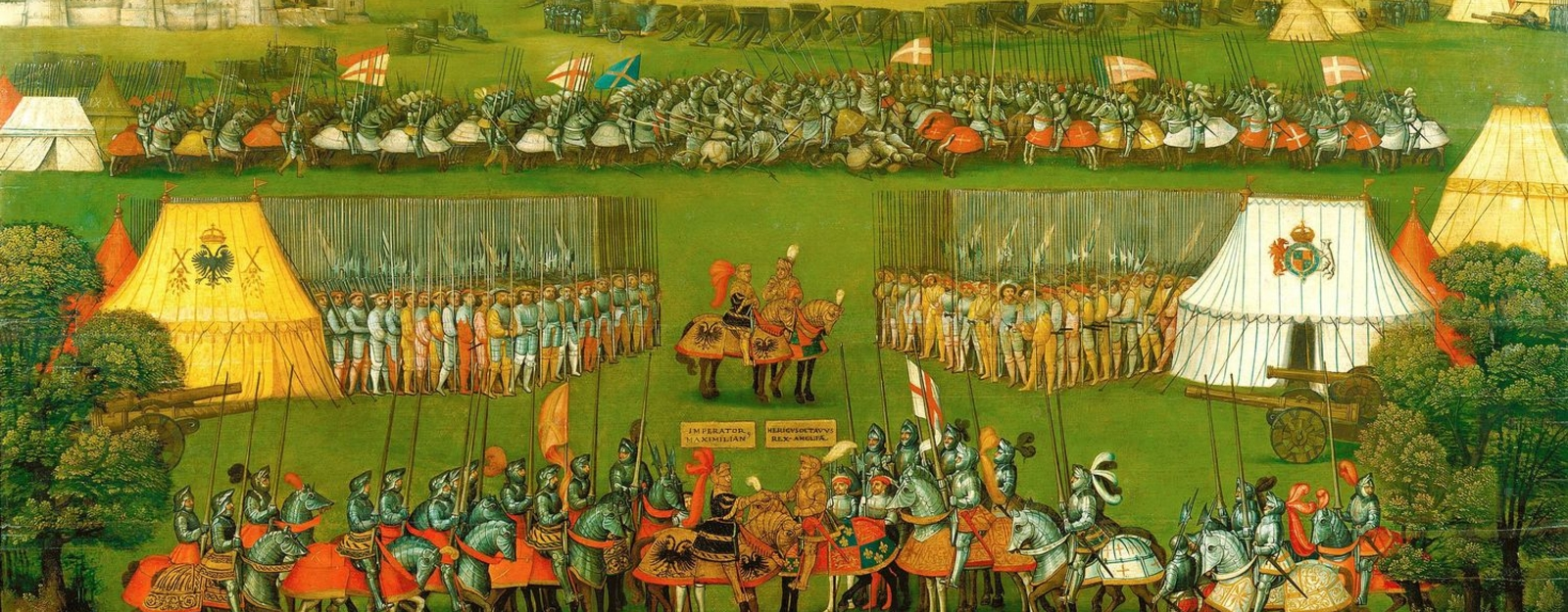 In order to pursue his ambitions in France, Henry VIII formed an alliance with the Holy Roman Emperor, Maximilian I. This painting records their meeting and the main events pertaining to Henry's first campaign against the French in 1513.  The composit