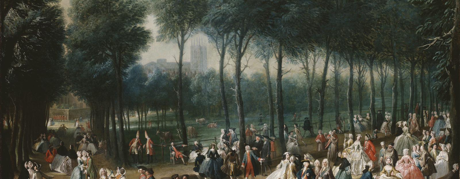 St James's Park was laid out by Charles II in the formal French style with avenues of trees and a long rectangular canal. This scene is viewed looking back towards Whitehall Palace down the oblique avenue of trees. Westminster Abbey is visible in th