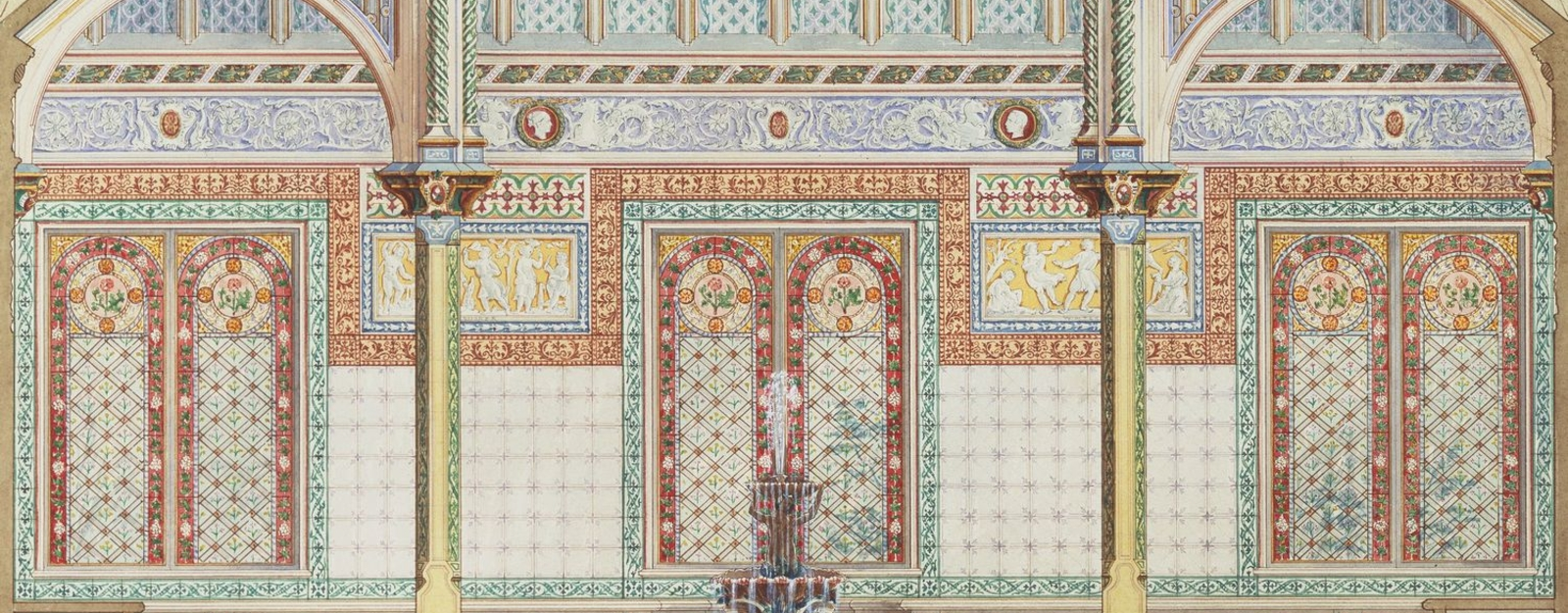 A watercolour depicting a large room with beamed ceiling, stained and leaded windows, decorative tiles on walls and friezes between the two windows; a fountain in the centre. This watercolour is a design for the Royal Dairy in Windsor Home Park. Below are