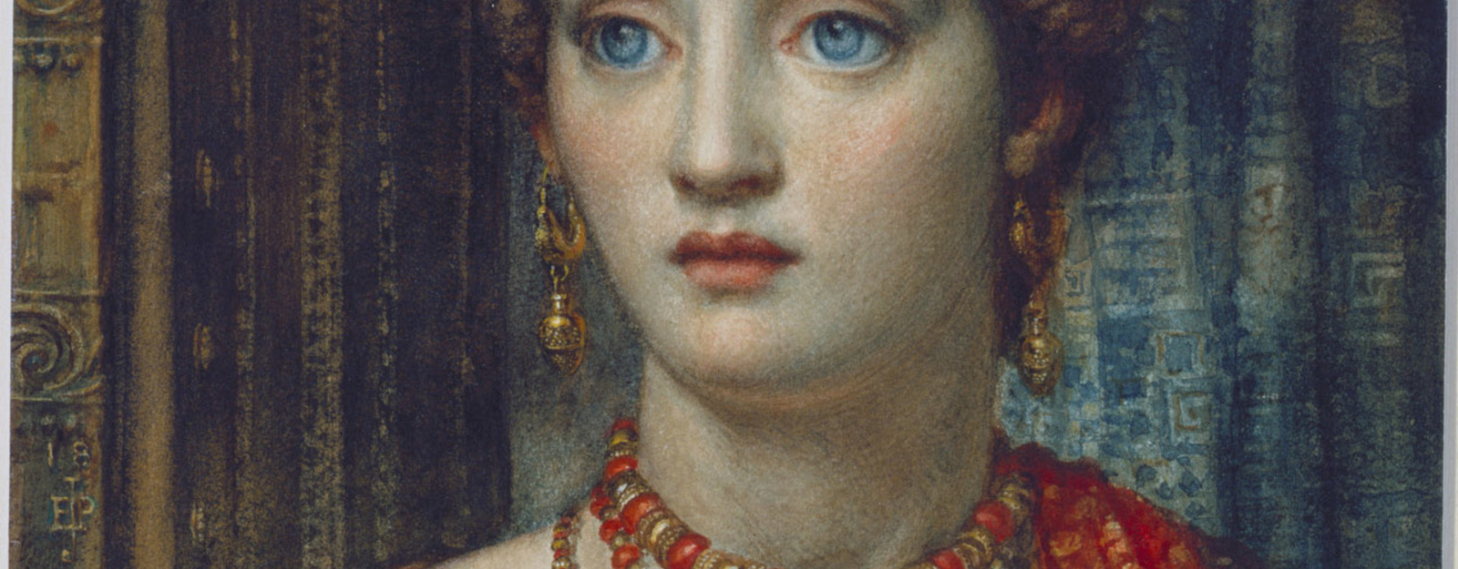 A drawing of the head and shoulders of a female dressed as Helen of Troy in a red robe andwearing a gold circlet and jewellery. Signed in monogram and dated.<br> <br>There is an earlierversion, in oils, of this watercolour in the Art Gallery o