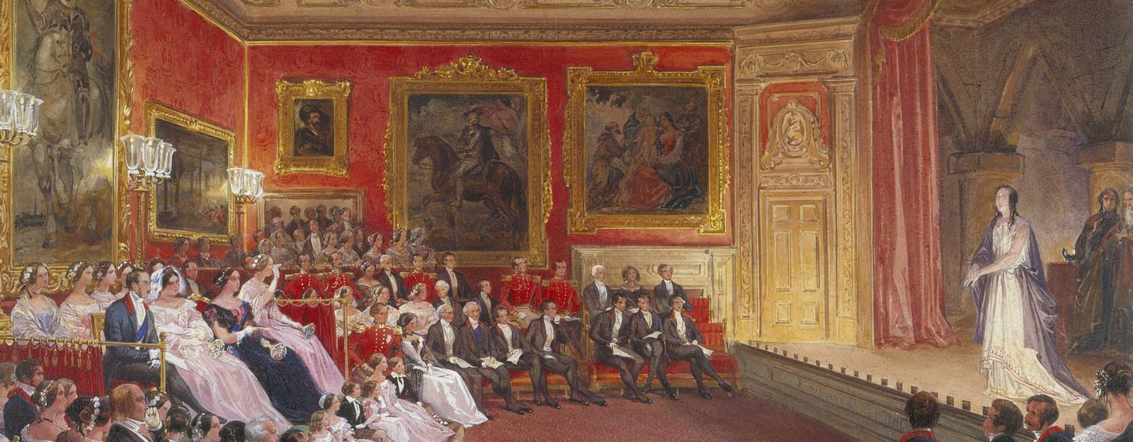 Watercolour of Queen Victoria watching a performance of Macbeth
