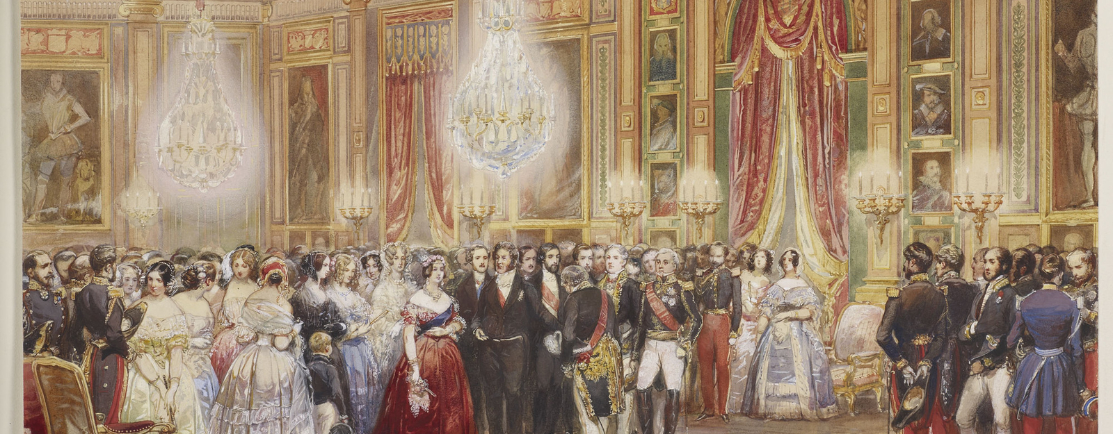 DM 3136: the Royal Party in the Galerie.  Behind the Queen and Louis-Philippe can be seen the duchesse d'Orleans with her elder son, the Queen of the Belgians, Mme Adélaide, Queen Marie-Amélie, Prince Albert  etc.  Signed and dated.
