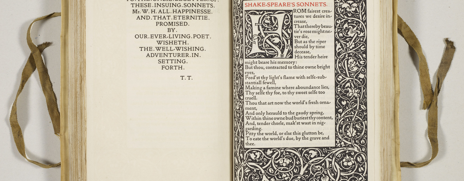 Amongst the more modern holdings of Shakespeare's works in the Royal Library is this Kelmscott Press edition of the poems and sonnets. The Kelmscott Press, run by the arts-and-crafts designer William Morris (1834–96), aimed to produce printed