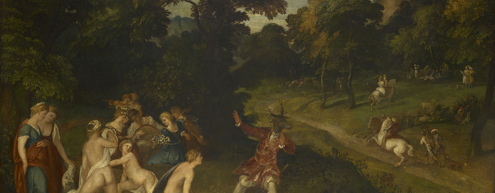 The story of the hunter Actaeon's accidental discovery of Diana and her nymphs bathing is told in Ovid's 'Metamorphoses'. Furious at his intrusion into their grotto, Diana turns Actaeon into a stag, and he is chased and killed by h