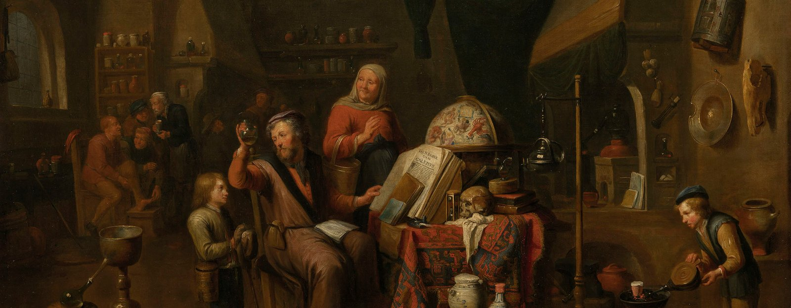 This is one of a pair of paintings (see CWLF 127, 406900) depicting a collector surrounded by his possessions and an physician in his laboratory. Both works consciously perpetuate the tradition of David Teniers, who specialised in alchemists and collector