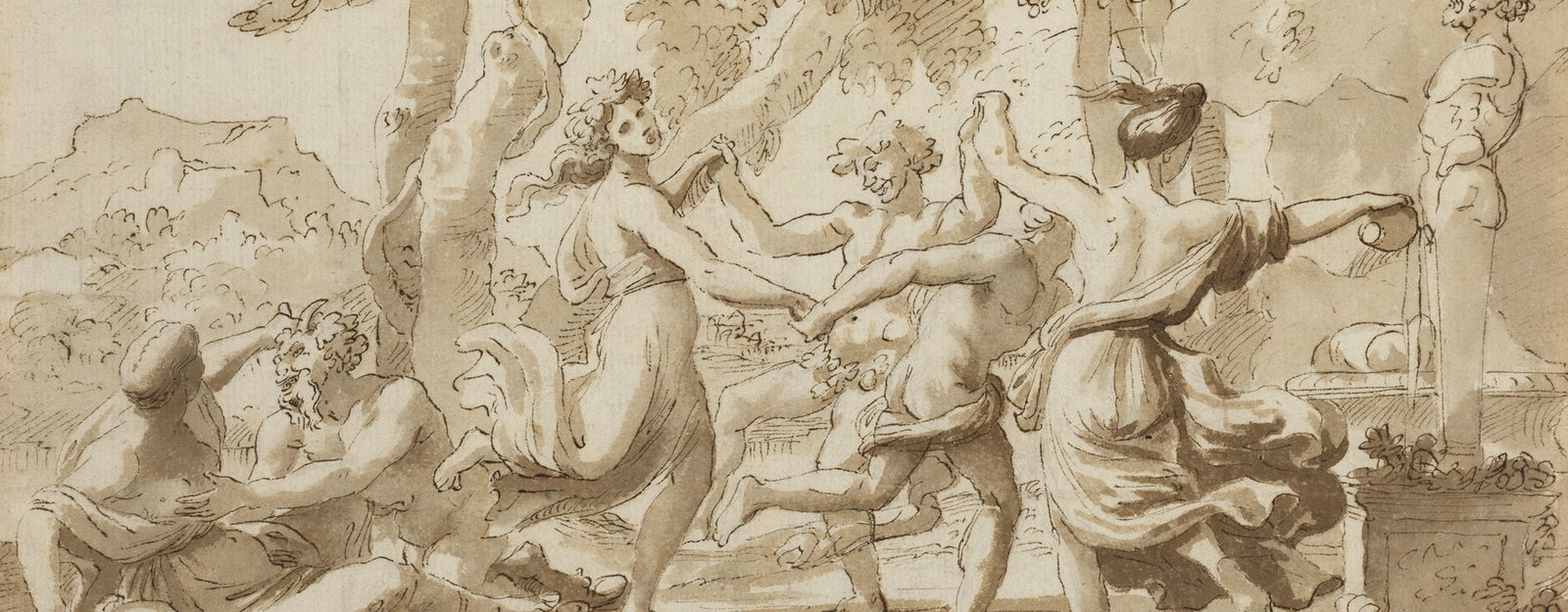 Recto: a drawing of a round dance before a herm of Pan (or Priapus), with a nymph and satyr to the left. Verso: a very weak sketch of a Holy Family group. The verso has not been catalogued. Nicolas Poussin was the outstanding French painter of the Baroque