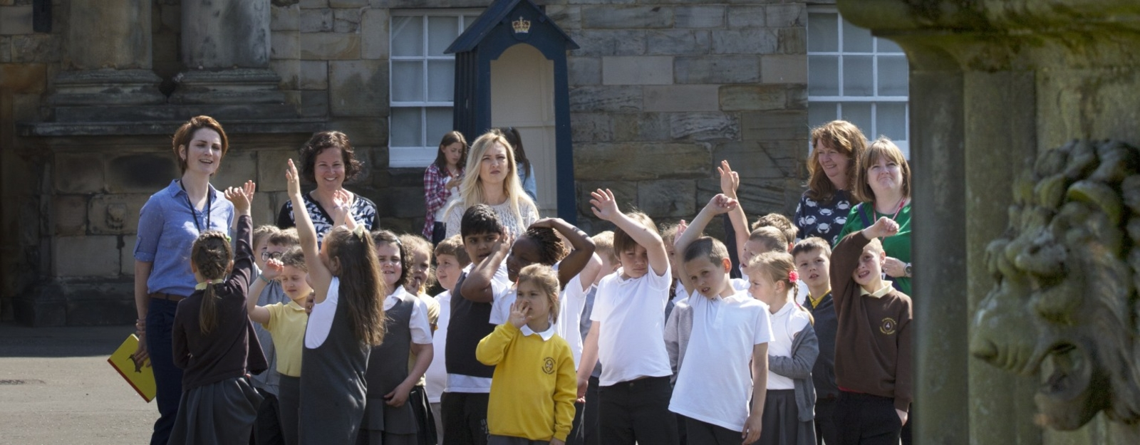 School pupils on Palace forecourt