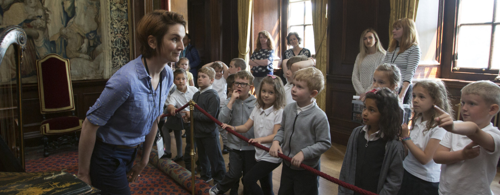 Pupils inside the Palace of Holyroodhouse