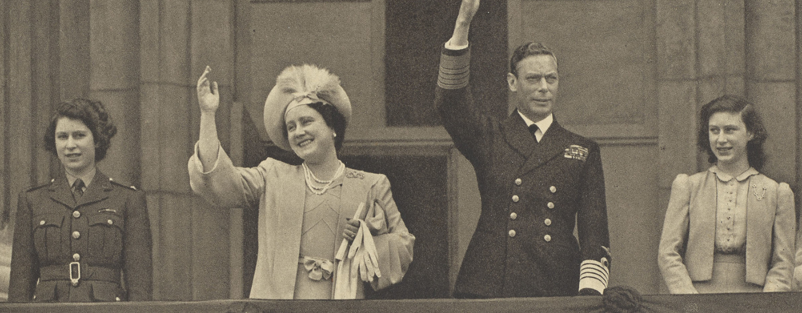 Photograph of King George VI and family during VE Day
