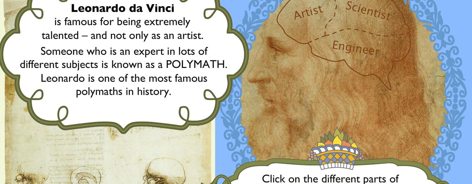 Inside the amazing mind of Leonardo da Vinci: Children's activity banner