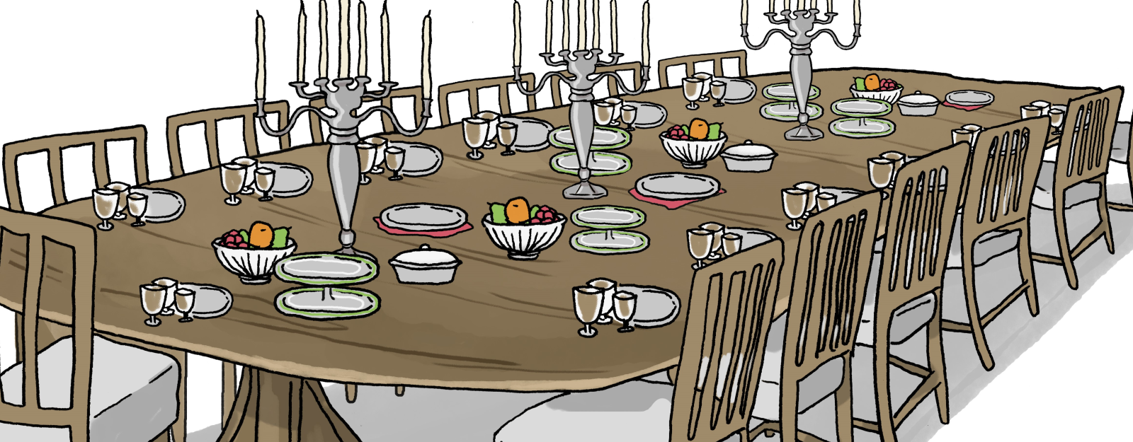Illustration of dining table